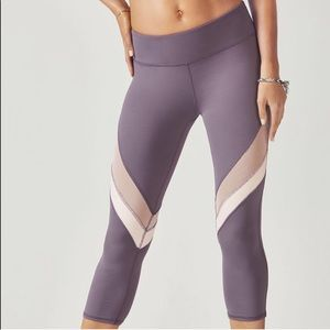 Fabletics Purple and White Mesh Cropped Leggings